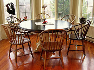round kitchen table and 6 chairs